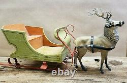 1930's Vintage Christmas Reindeer Candy Container with Sleigh