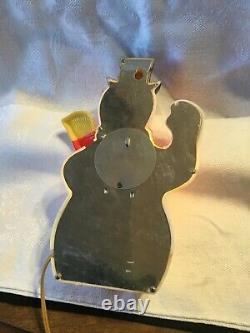 1950S PARAMOUNT LIGHTED SNOWMAN PLASTIC CHRISTMAS Tin Back Hang Or Stand RARE