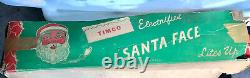 1950s Vintage Blow Mold Lit Santa Face In Orginal Box