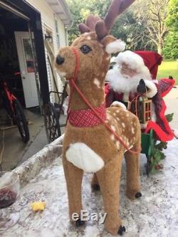 1993 Santas Best Santa & Sleigh Reindeer Animated Lights With Box