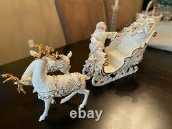 2000 Grandeur Noel Santa Sleigh Porcelain Christmas Ensemble Collectors Edition