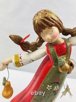 2000 House Of Hatten- D Calla-Wood Carving -Girl -Pigtails/Pear/Stars-14.5