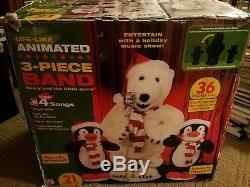 2006 Gemmy Life Like Animated 3 Piece Band Bear & Penquins Sings & Dances