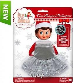 2015 SILVER SPARKLE DAZZLING DRESS Elf on the Shelf Claus Couture Girl Clothes