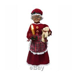 24 African American Animated Red Mrs. Claus with LED Lighted Candle Christmas