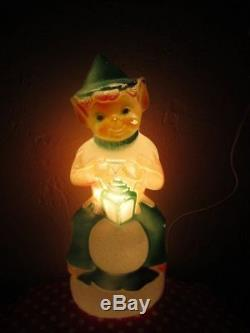 3 Pc Set! Rare Elf Snowball Mrs Claus Snowman Lighted Blowmold Xmas Decor 14
