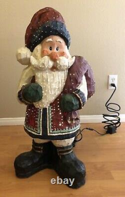 30 inch Outdoor Santa Fiber Optic Resin Christmas Decor