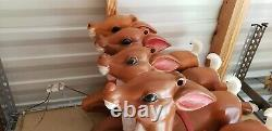 (4) Blow mold reindeer for Santa in sleigh read description & and see pictures