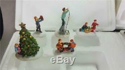 4 Vintage Hawthorne Village Miniature Winter Christmas Sets See Pics
