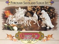 4pc 2001 Grandeur Noel White Porcelain SANTA & SLEIGH Collector's Set #J0130