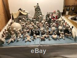 71 Pieces Bisque Christmas Snow Babies With Glitter Lot By Judi Artist
