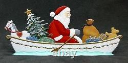 ARTIST WILHELM SCHWEIZER GERMAN ZINNFIGUREN Rowing Santa (5.5x 2.5)