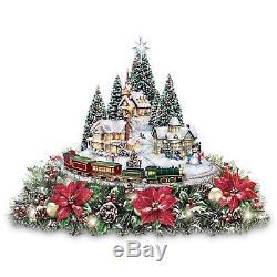 Animated Christmas Village Figures Sculpture Table Floral Centerpiece Decoration