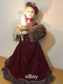 Animated Victorian Couple Beautifully Dressed Lighted Candle Christmas Holiday