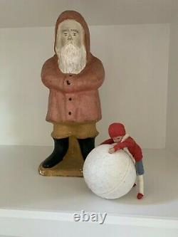Antique German Christmas Heubach Child Candy Container with Snowball ornament