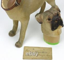 Antique German Paper Mache Candy Container Pug Dog Glass Eyes British Royalty