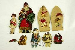 Antique German Santa Claus Christmas Paper Doll Set ca1910