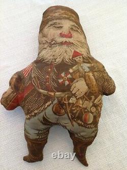 Antique RARE 1800s Edward Peck Printed Cloth Doll and Banner Santa Claus