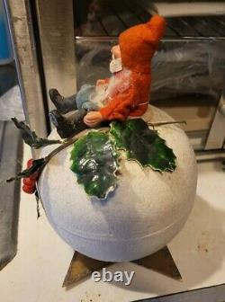 Antique Santa Candy Container Sitting on Large Snowball Made Germany Paper Mache