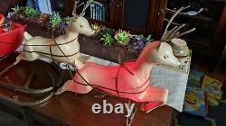 Antique Vintage Santa Sleigh & Reindeer Blow Mold Plastic Union 1960's RARE HTF
