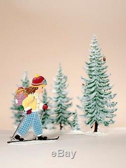 Artist Wilhelm Schweizer German Christmas Pewter Zinnfiguren Girl Skiing SET
