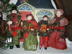 Beautiful 4 Piece Deluxe Caroler Set Musical / Lighted Lantern Christmas Rare B1