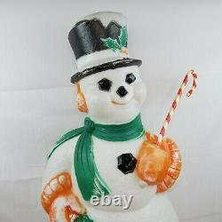 Blow Mold Poloron VTG Snowman 45 Wreath Outdoor Lighted Plastic Yard Decor 50's