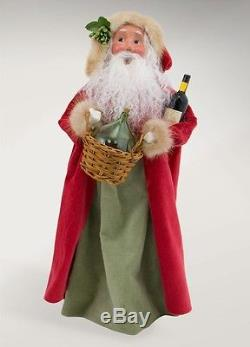 Byers' Choice Santa & Mrs Claus With Bordeaux Wine & Cheese New Carolers