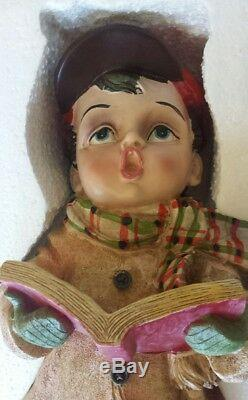 CRACKER BARREL CHRISTMAS Plaid TIdings CAROLER DOLL BOY and Girl Statue