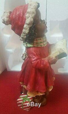 CRACKER BARREL CHRISTMAS Plaid Tidings CAROLER DOLL Black Boy & Girl Statue 16