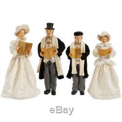 Carolers Statue Raz Imports Christmas Carolers Set/4 New Large Cream Black Gold