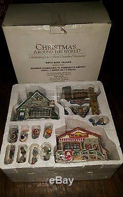 Christmas Around The World Birch Bark Village complete in box