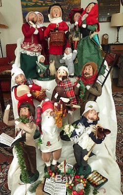 Christmas Caroler- Byers' Choice. Lot of 13 Carolers. Nice, few flaws, 1992-2001