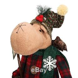 Christmas Decoration Life Size Figures Pre Lit Xmas Holiday Plush Moose 5 Ft