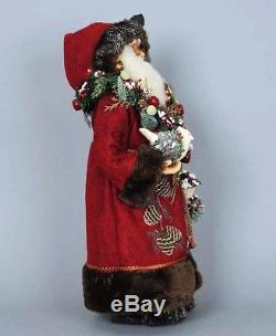 Christmas Decorations Woodland Santa With Dove, Birdhouse & Lighted Garland