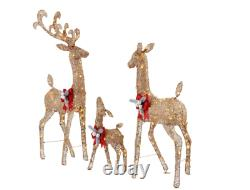 Christmas Deer Family Set 3-PC Lighted Outdoor Yard Decor Gold White LED Lights