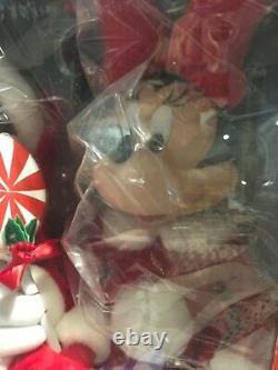 Christmas Disney Mickey & Minnie Mouse Pair 20 Animated Figures Brand New