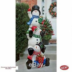 Christmas Illuminated Snowman Holiday Statue Collection With LED Lights