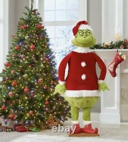 Christmas Santa 5.74 Ft Tall Life Size Animated Grinch Prop Speaks-new