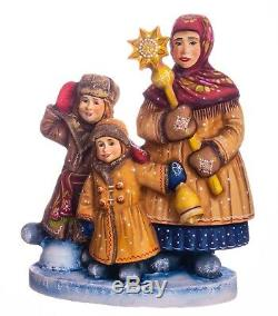 Christmas figurine children Russian style hand carved wood decor 8