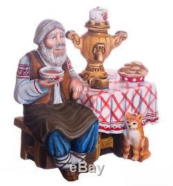 Christmas figurine grandfather Russian style handmade carved wood decor 7