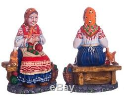 Christmas figurine grandmother Russian style handmade carved wood decor 8