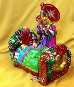 Christopher Radko CHILDREN in BED & PARENTS Christmas Ornament 20th Anniv Rare