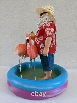 Clothtique Collection Possible Dreams Santa with Flamingos