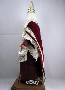 Collectible all orig. St. Nicholas Bishop Myra Xmas figure by Brenda Goin Morris