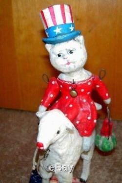 Debbee Thibault Special Patriotic Kitty Cat on Lamb Certificate/ Artist Proof