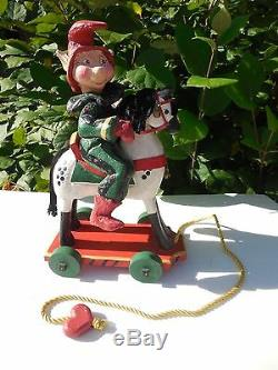 Denise Calla House Of Hatten 14 Elf Figurine Riding On Hobby Horse Large