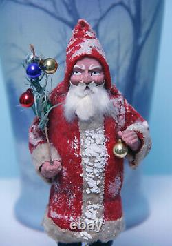 EARLY GERMAN CHRISTMAS SANTA CANDY CONTAINERGREAT STERN FACE SANTA c1910
