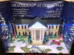 ELVIS PRESLEY Graceland at Christmas Illuminated Musical Porcelain Building(S3A)