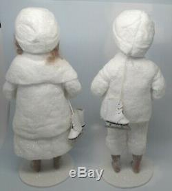 Elaine Roesle Snow Children St. Nicholas Collection 13.5 Boy & Girl with Skates